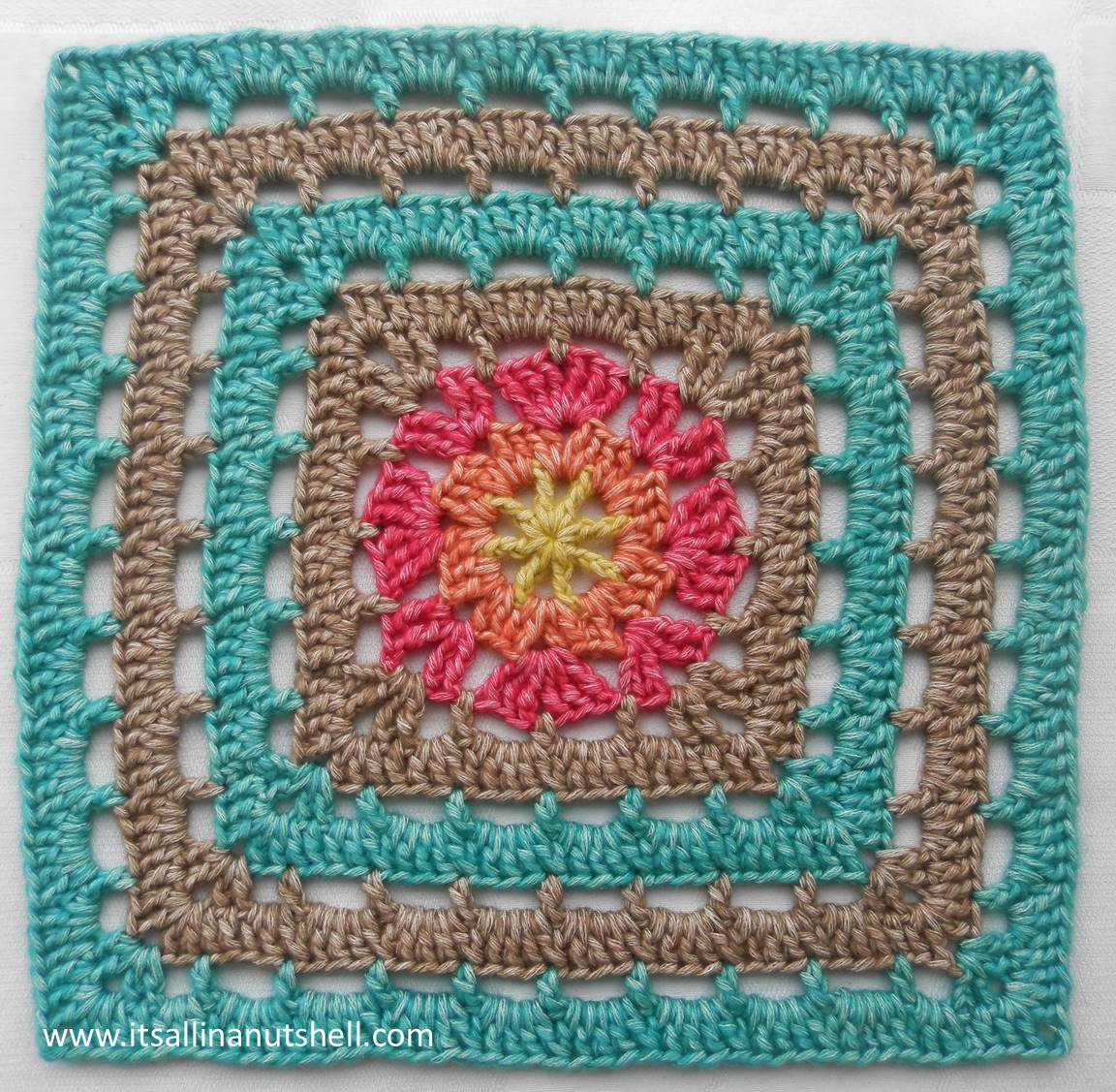 """Vincent"""" 12inch crochet afghan square – Free Pattern – It\'s all in a ..."""