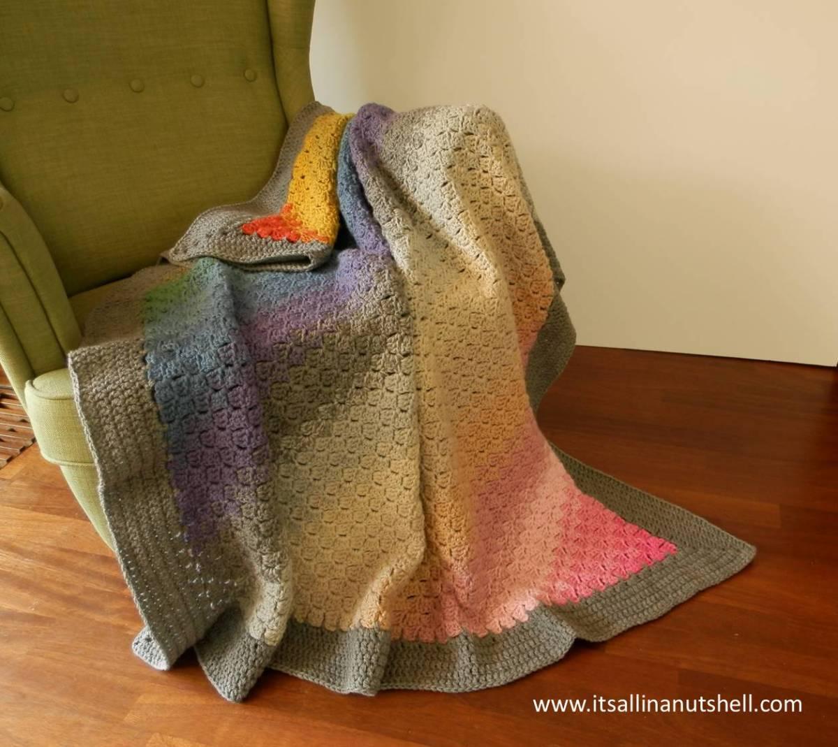 Spectrum C2C Ombre Blanket - Free Crochet Pattern