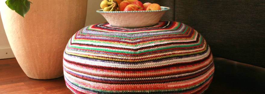 Stripey Pouf Free Crochet Pattern Its All In A Nutshell