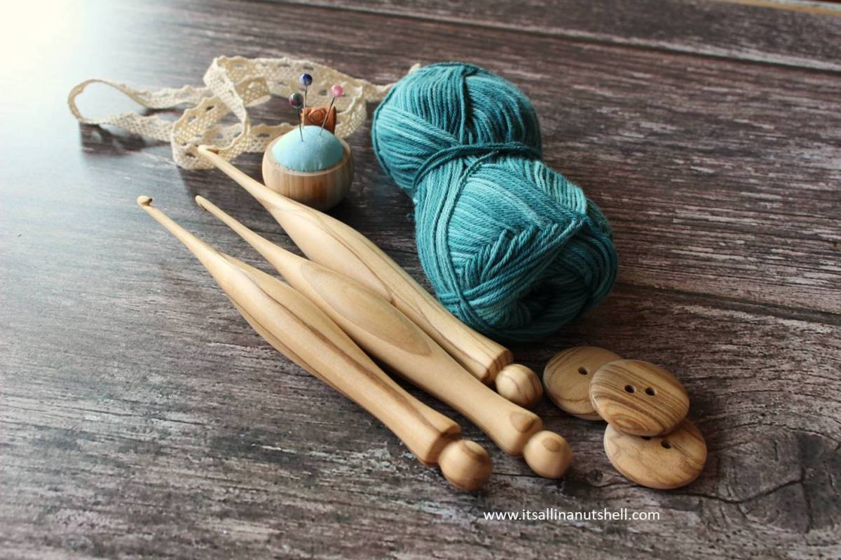 Hand made wooden crochet hooks